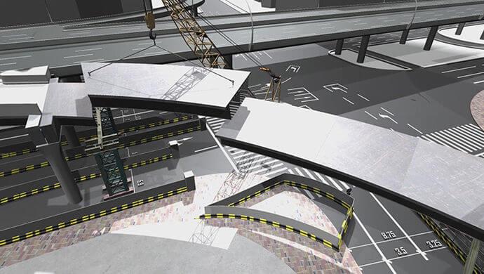 图片为BIM模拟钢箱梁吊装 来源:上观网